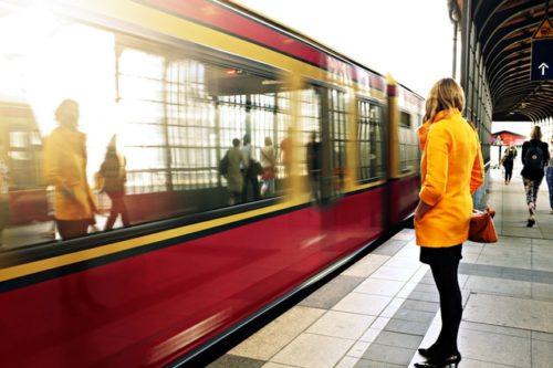 Commute train female waiting