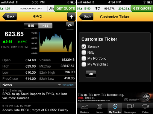 Moneycontrol Market's on Android