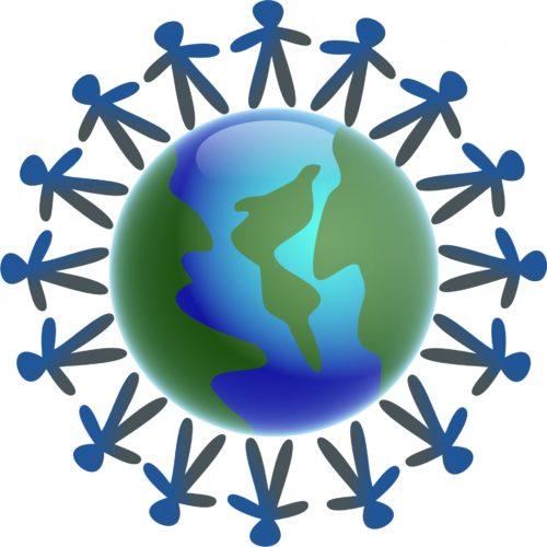 People on around World Globe