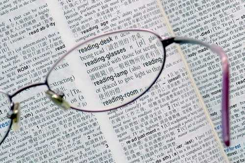 Reading glasses and words book