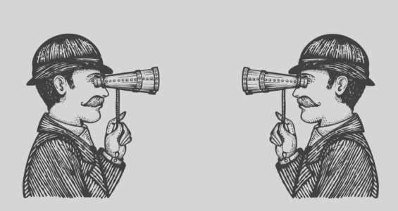 Drawing 2 men spy watching